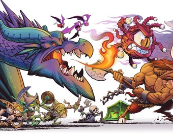 Adventure Cats Chased by Monsters - Color Art Print - 11.75 x 36 inchs