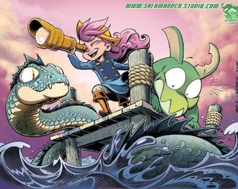 Sea Serpent - Color Art Print - 11 x 14.5 inch