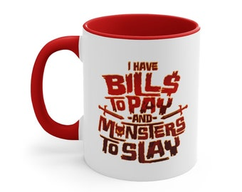 BILLS & MONSTERS - Coffee Mug - Red Accent, 11oz