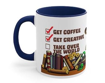 Get Coffee, Get Creative, Take Over The World - Coffee Mug - Navy Accent, 11oz