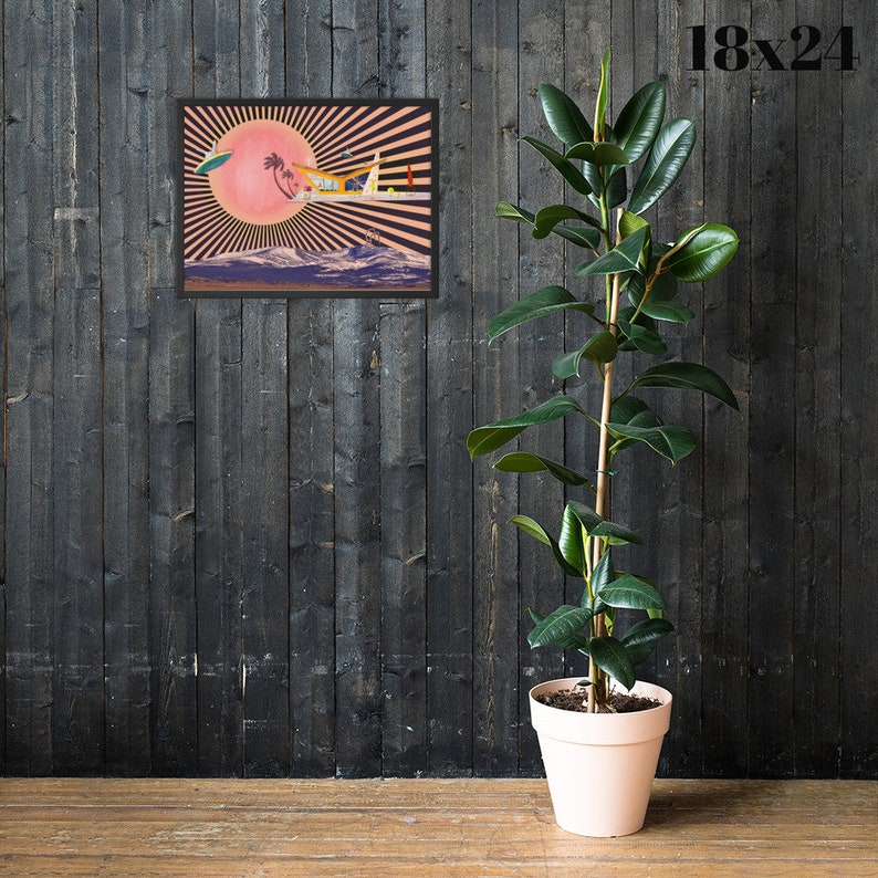 FOXY Palm Springs Art Print Naughty Retro Sci Fi Tropical Decor Atomic Age Social Distancing Collage Mid Century Modern House Wall Art