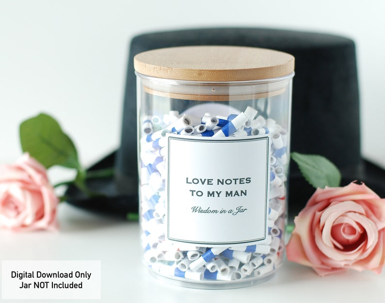 PRINTABLE Valentines Love Notes to My Man 365 messages jar image 0