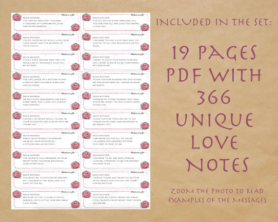 Printable Mother S Day Gift Love Notes To My Mother 365 Etsy