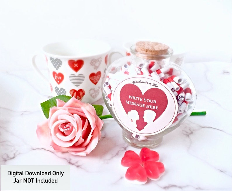 PRINTABLE Valentines day Gift messages in a jar editable image 0