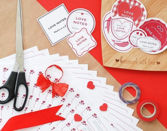 PRINTABLE Romantic Love Notes 365 Messages 12 Jar Labels
