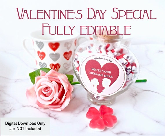 Printable Valentines Day Gift Messages In A Jar Editable Pdf Reasons Why I Love You Personalized Romantic Gift For Him Her