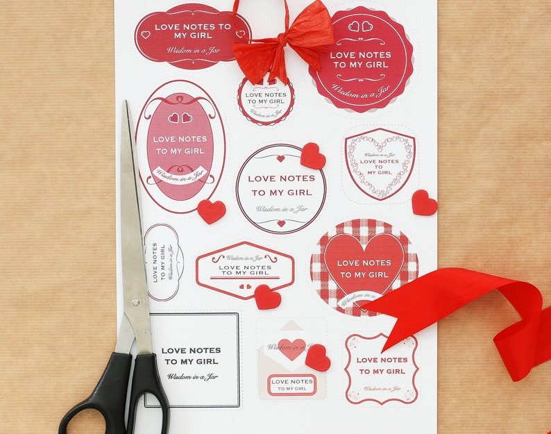 Instant download 365 messages Anniversary Birthday card for her 12 jar labels /& editable PDF PRINTABLE Romantic Love Notes to My Girl