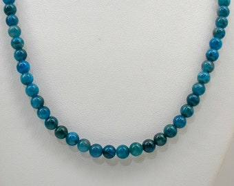 27 inch,30 inch-Stainless Steel Lobster Clasp 22 Inch 20 Inch 24 Inch Natural 8 mm Chrysocolla Phoenix Turquoise Bead Necklace-18 inch