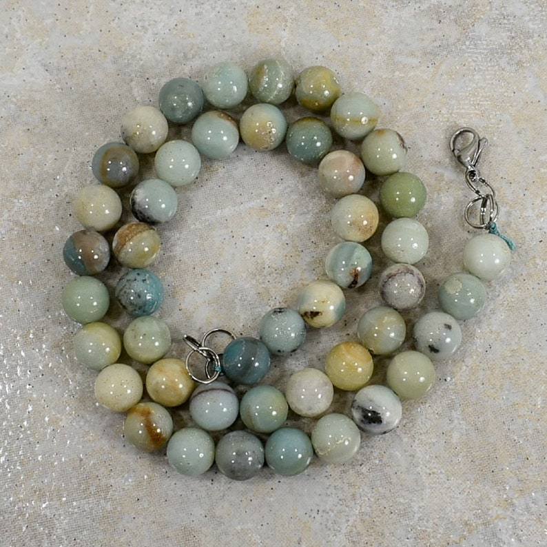 Natural 20 inch Amazonite 10 mm Bead Necklace-FREE SHIPPING-Stainless Steel Lobster Clasp