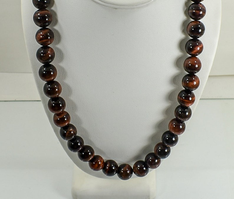 Natural 22 inch Red Tiger Eye 14 mm Bead Necklace-FREE SHIPPING-Stainless Steel Lobster Clasp