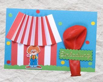 Schön 1 Einladungskarte Zirkus Clown Kindergeburtstag