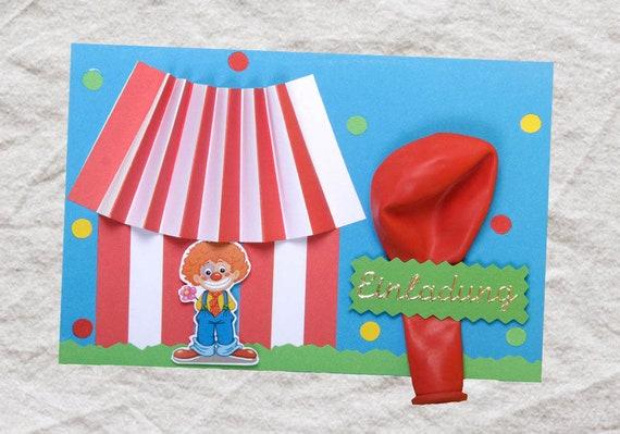 1 Einladungskarte Zirkus Clown Kindergeburtstag