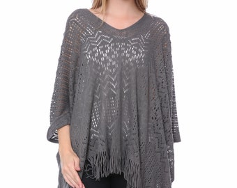 Gray Crochet Knitting Poncho(QH-272-3-02)