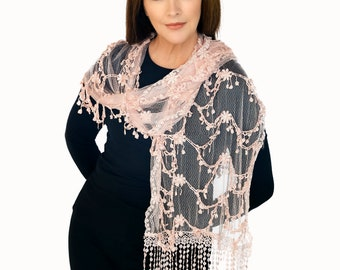 Pink Long Lace Scarf With Tassels(QH-356-2-02)