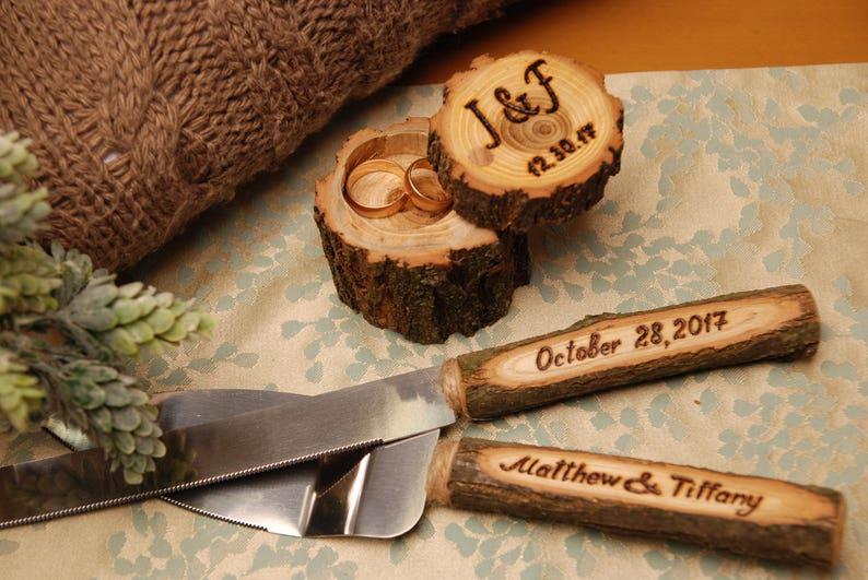 Rustic Wedding Cake Knife Set Wedding Gift Wedding Knife Set Etsy