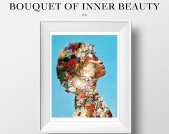 LIMITED EDITION: Bouquet Of Inner Beauty   8.5x11 & 11x14 Print   Surreal Artwork   Wall Art Decor   Black Art   Melanin Art   Flower Art