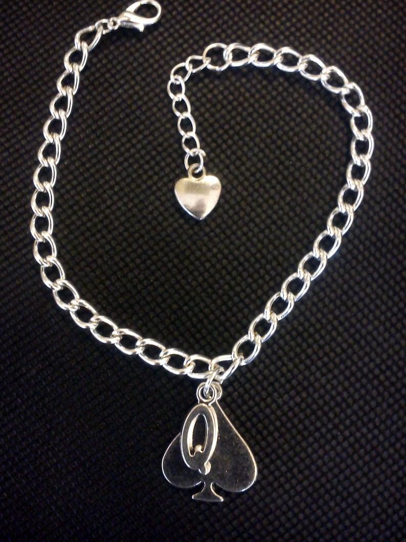 Queen of Spades Silver curb Bracelet or anklet