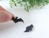 Pair of Tiny Bat Figurines - Small Plastic Toy for Fairy Garden, Diorama, Terrarium, Model, Dollhouse - Realistic Miniature Figure