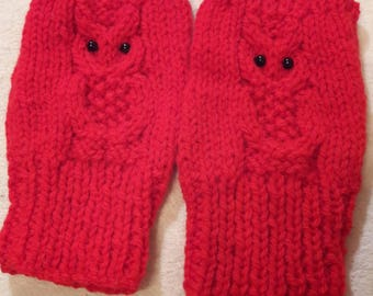 gloves, mittens, hand warmers, Fingerless, Hand Knitted, Red with Owl Motif