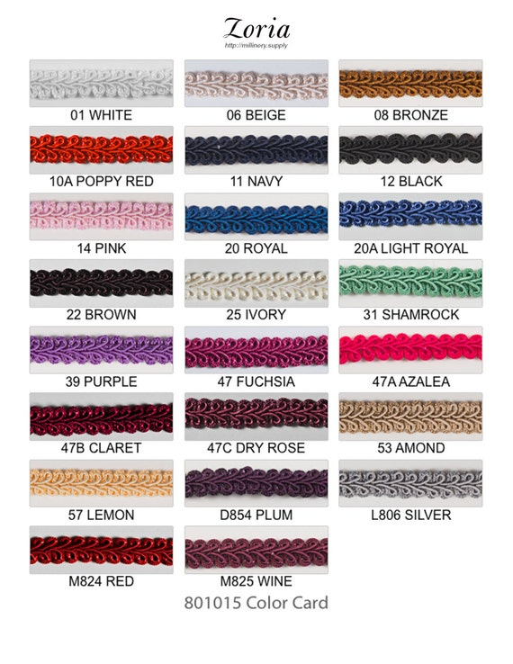 Wine 1//2 Scroll Braid Gimp w//Backing 12 Continuous Yards Many Color Options!