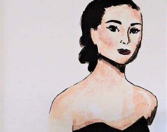 Audrey Hepburn Art Print/from original artist painting/8 x 10/signed/matted 11 x 14