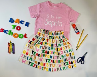 Back to School Outfit, First Day of Preschool Outfit, First Day of Kindergarten Outfit, Alphabet Outfit, ABC Outfit, Name Shirt, ABC Skirt