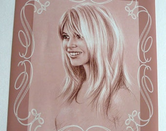 Brigitte Bardot Poster / Rose / Reproduction of a portrait of Brigitte Bardot 30 x 40 cm