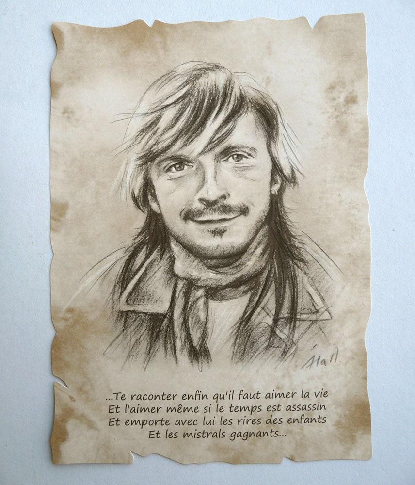 Renaud: Renaud Portrait Reproduction A4 Parchment Quote Mistral