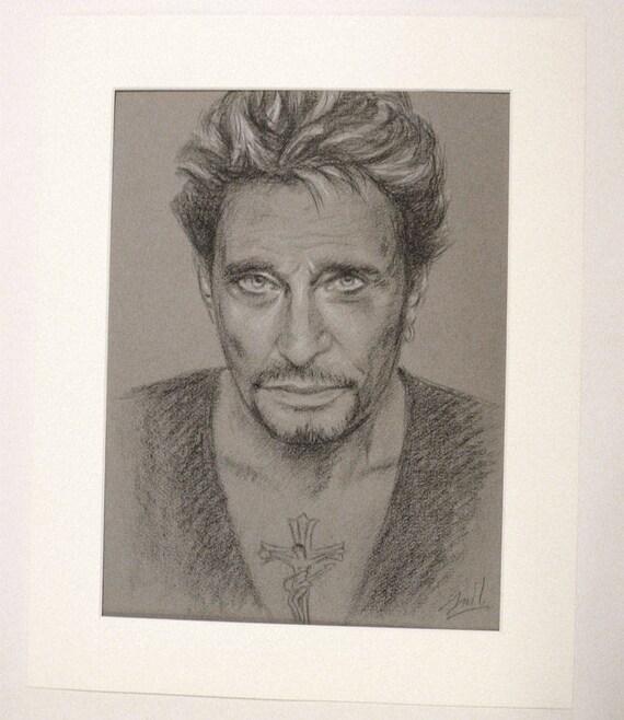 Johnny Hallyday Portrait Original 30x40 Cm Dessin Noir Et Etsy