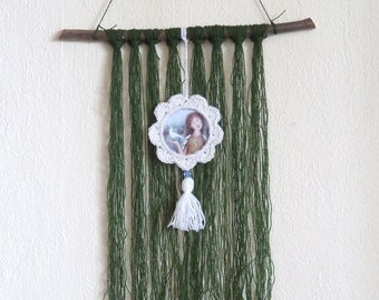 Pendant Bohemian boho with illustration Green Branch wood hook frame