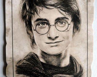 Harry Potter scroll Reproduction portrait of Daniel Radcliffe (Harry Potter) A4, Halloween Decor