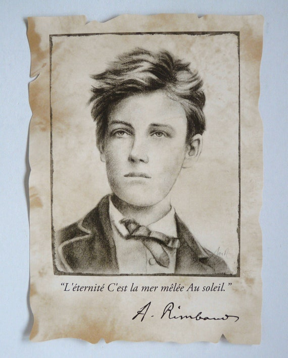 Arthur Rimbaud Portrait Repro On Parchment A4 Citation