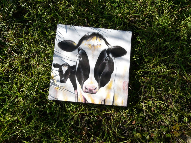 Painting black and white cow 40 x 40 cm