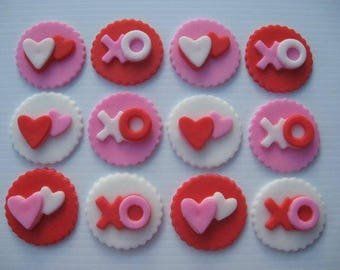 12 valentines day themed cupcake toppers / cookie toppers / valentines day party / valentines day cake