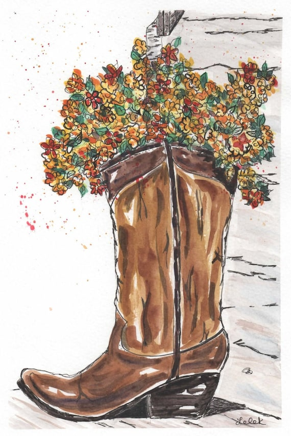 Floral boot   Etsy
