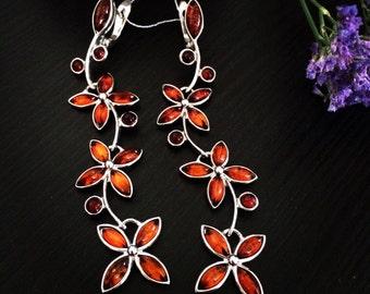 Earrings amber, Silver earrings amber, Silver earrings, Amber Jewellery,earrings,  stone earrings, amber flowers, flowers earrings,  flowers