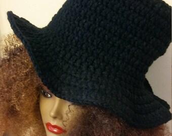 Crochet Black Top hat