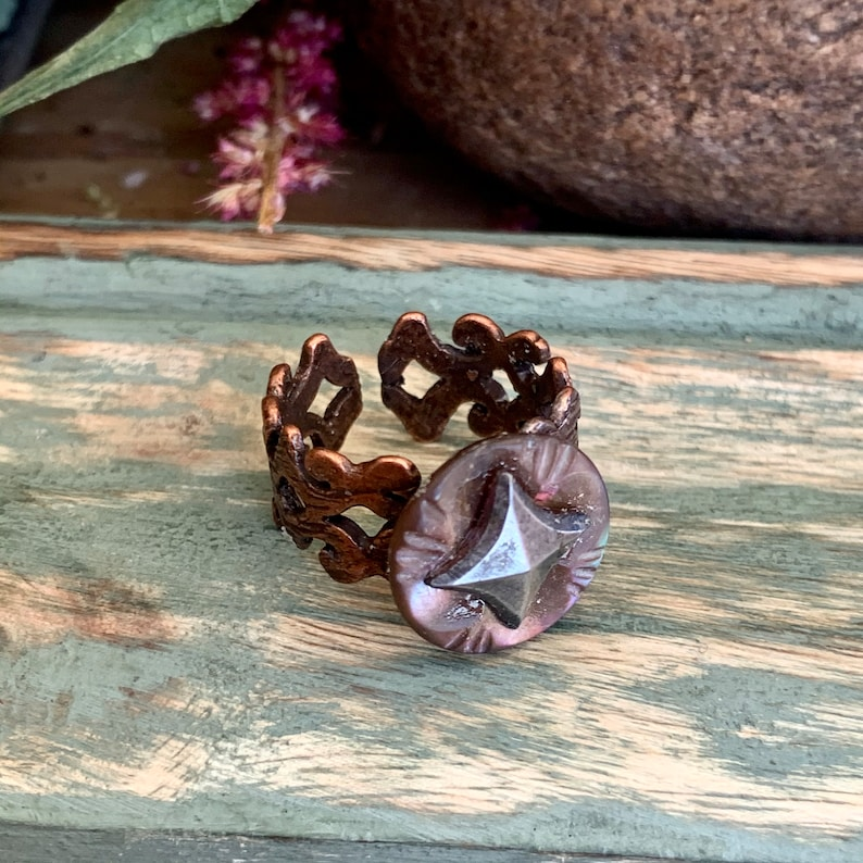 Button ring,antique buttons,vintage jewelry,vintage rings statement rings,antique rings,gifts for her,rings,vintage buttons,boho jewelry