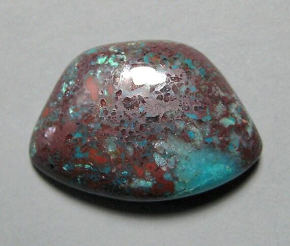 Chrysocolla and Cuprite in Quartz Cabochon from Peru 13.5x11.5mm