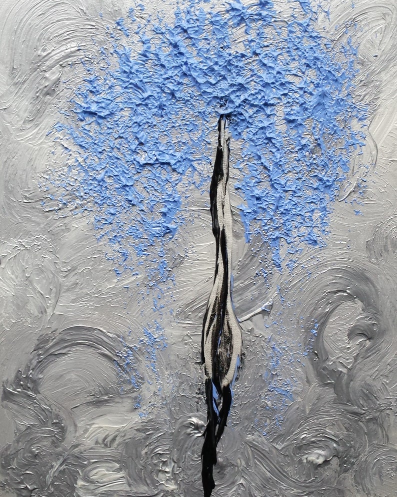 Silver Black Blue Tree Leaves Breath Abstract Nature image 0