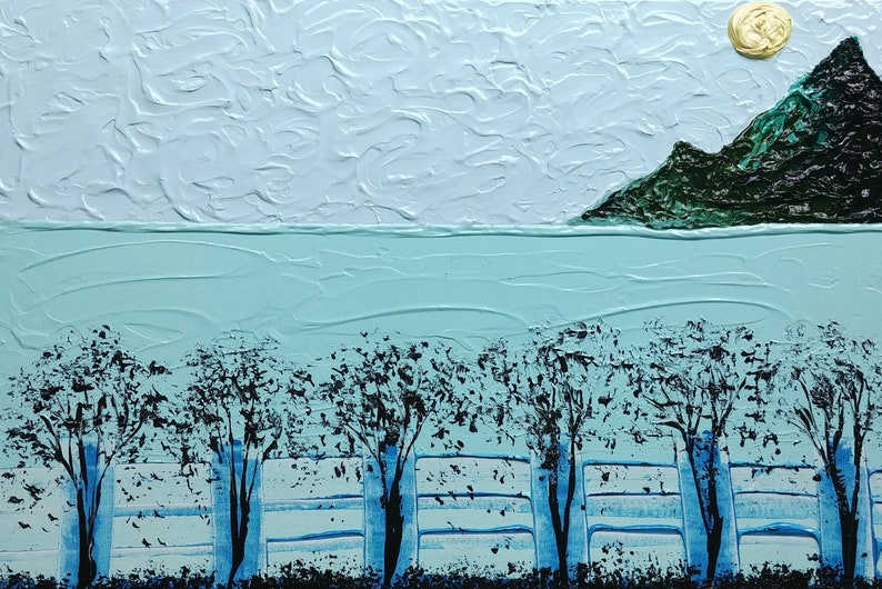 Green Black  Blue Yellow Mountains Sun Water Fence image 0
