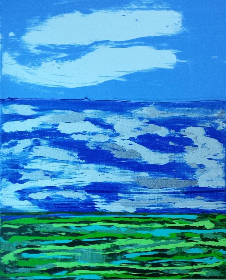 Blue White Silver Green Field Clouds Ocean Water Blue image 0