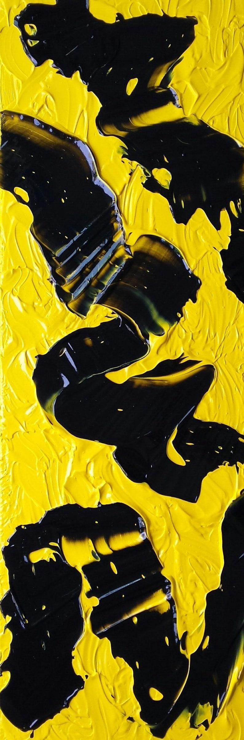 Black Yellow Abstract Film Reel Art Original Art image 0