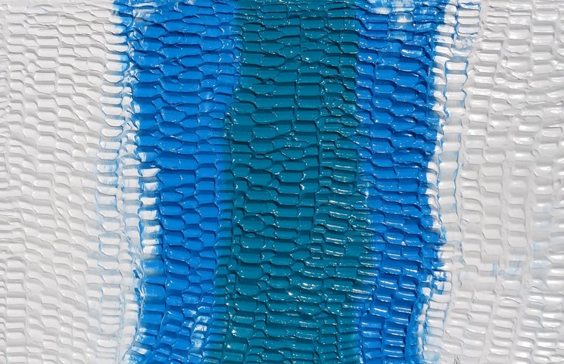 White Blue Turquoise acrylic original abstract  / BLENDED image 0