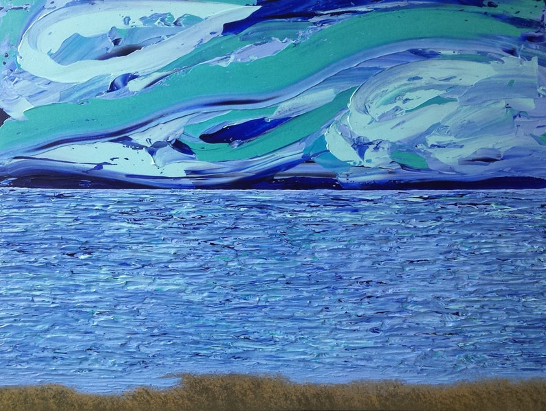 Green Blue Gold Bronze Aurora Ocean Sky Acrylic FOR image 0