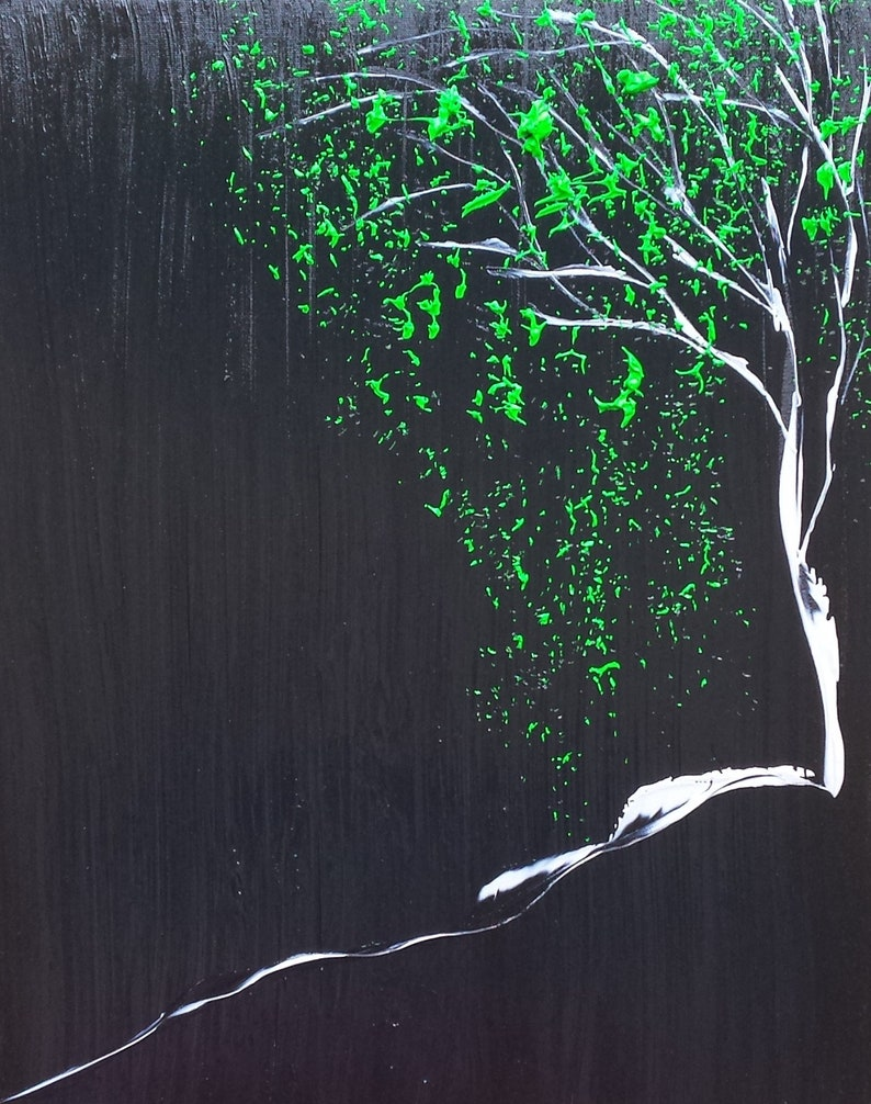 Green Black Grey Tree Leaves Abstract Small Painting image 0