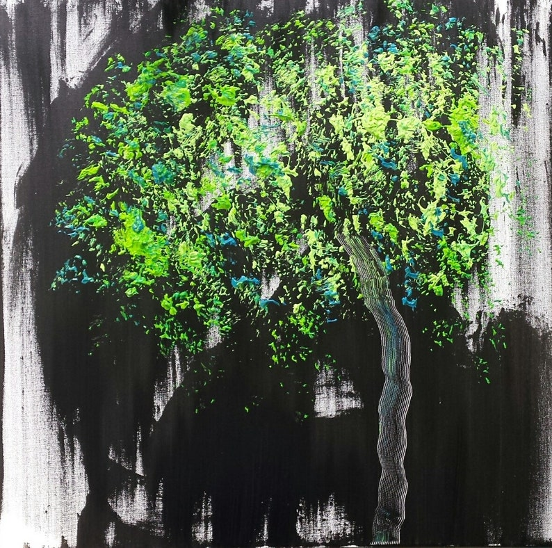 Black White Green Turquoise Tree Bear Black Bear image 0