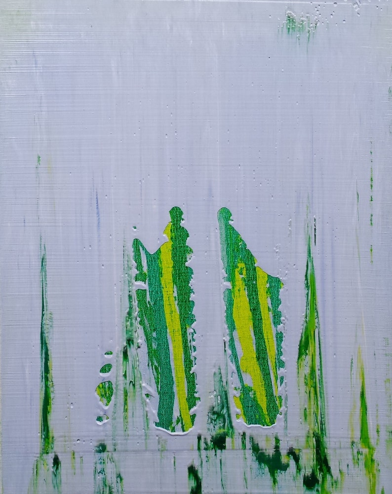 Blue Green Yellow Abstract Acrylic Original Painting image 0