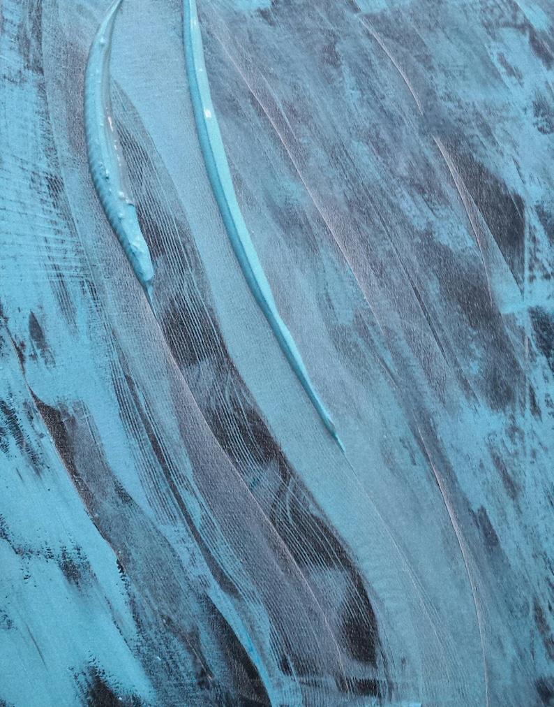 Blue Black Grey Tears Abstract Original Painting Art image 0