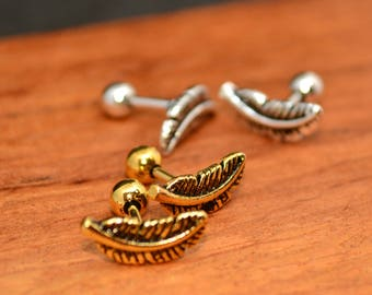 Feather cartilage earring   cartilage earring   Tragus earring   Gold plated  Silver plated  earring   Dainty Silver Earring